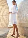 Расклешенное платье из хлопка с объемными рукавами белое 54131, фото 4