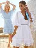 Расклешенное платье из хлопка с объемными рукавами белое 54131, фото 5