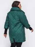 Стеганая куртка батал с трикотажными манжетами зеленая 50754, фото 3