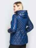 Стеганая куртка с капюшоном и карманами на магнитах синяя 20321, фото 2
