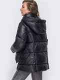 Зимняя куртка с воротником-стойкой и капюшоном чёрная 50219, фото 3
