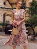 Пудровое платье с цветочным принтом и фигурным вырезом 54464, фото 2