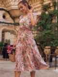 Пудровое платье с цветочным принтом и фигурным вырезом 54464, фото 3