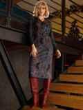 Чёрное платье-рубашка из трикотажа с принтом 52643, фото 4