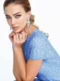 Голубое платье-футляр из гипюра 52471, фото 3