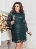 Зеленое платье большого размера из гипюра с пайетками 43289, фото 2