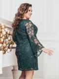 Зеленое платье большого размера из гипюра с пайетками 43289, фото 3
