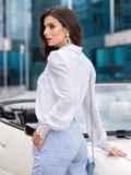"""Белая блузка с вырезом """"замочная скважина"""" 40072, фото 2"""