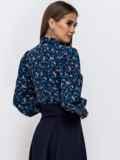 Блузка с принтом и объемными рукавами темно-синяя 53392, фото 2
