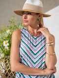 Блузка в полоску с разрезами по бокам зеленая 49205, фото 1