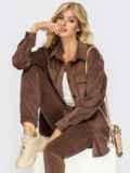 Коричневый костюм из вельвета с удлиненной рубашкой и брюками 54654, фото 1