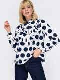 Блузка с крупным принтом «горох» и воланом белая 53010, фото 1