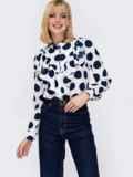 Блузка с крупным принтом «горох» и воланом белая 53010, фото 3