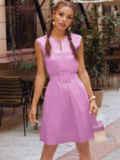 Сиреневое платье-трапеция со встречной складкой по полочке 54686, фото 2