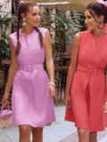 Сиреневое платье-трапеция со встречной складкой по полочке 54686, фото 3