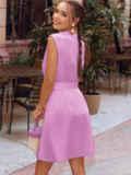 Сиреневое платье-трапеция со встречной складкой по полочке 54686, фото 4