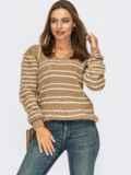 Вязаный джемпер бежевого цвета в полоску 54881, фото 1