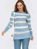 Вязаный джемпер голубого цвета в полоску  54883, фото 1