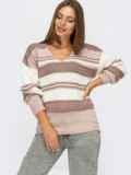 Вязаный джемпер пудрового цвета в полоску 54885, фото 2