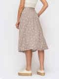 Расклешенная юбка-миди в горох на пуговицах бежевая 54303, фото 2