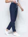 Спортивные штаны с завышеной талией на резинке синие 21854, фото 2