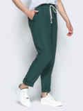 Спортивные штаны с завышеной талией на резинке зеленые 21856, фото 2