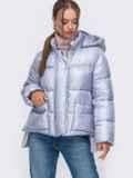 Зимняя куртка с воротником-стойкой и капюшоном голубая 50222, фото 2