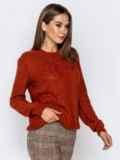 Ажурный свитер с резинкой на манжетах терракотовый 41173, фото 2