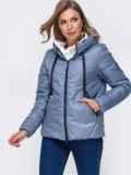 Укороченная куртка со вшитым капюшоном голубая 50412, фото 2