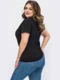 Черная базовая футболка прямого кроя 54107, фото 2