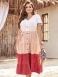 Трехцветное платье батал с коротким рукавом на пуговицах 54393, фото 2