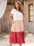 Трехцветное платье батал с коротким рукавом на пуговицах 54393, фото 5