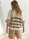 Молочный свитер свободного кроя в бежевую полоску 54891, фото 4