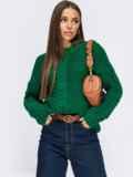 Зелёный свитер с косами по полочке и рукавам 54888, фото 1