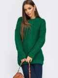 Зелёный свитер с косами по полочке и рукавам 54888, фото 2