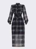 Черное платье-рубашка батал в клетку с разрезами по бокам 53361, фото 6