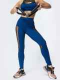 Спортивные лосины с эластичной сеткой синие 44620, фото 2