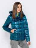 Демисезонная куртка синего цвета с капюшоном 40722, фото 2