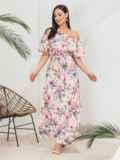 Платье батал с принтом и открытыми плечами розовое 46361, фото 3