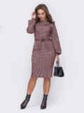 Приталенное платье из трикотажа с объемными рукавами пудровое 52620, фото 2