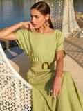 """Зеленое платье-клеш из льна """"жатка"""" с коротким рукавом 54235, фото 2"""
