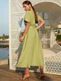 """Зеленое платье-клеш из льна """"жатка"""" с коротким рукавом 54235, фото 4"""