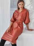 """Терракотовое платье из искусственной кожи с рукавом """"летучая мышь"""" 50138, фото 3"""