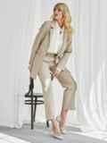 Бежевый комплект с пиджаком и брюками на молнии 50466, фото 3