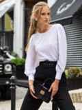 Блузка из прошвы с шифоновыми рукавами белая 54690, фото 2