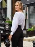 Блузка из прошвы с шифоновыми рукавами белая 54690, фото 4