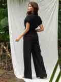 Брючный костюм черного цвета с блузкой из прошвы 53674, фото 3
