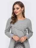 Платье из двунитки с контрастной кокеткой серое 42968, фото 3
