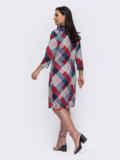 Прямое платье-миди большого размера в клетку синее 52871, фото 2