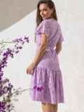 """Сиреневое платье из прошвы с рукавом """"крылышко"""" 49550, фото 2"""